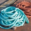 Two nylon ropes at a ship in the harbor — Stock Photo