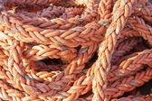 Nylonowej liny na statku w porcie — Zdjęcie stockowe