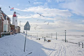 Seafront of Dutch fishing village in wintertime — Stock Photo