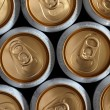 Beer cans seen from the top - Stock Photo