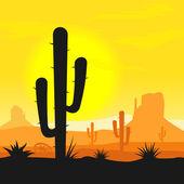 Cactus plants in desert — Stock Vector