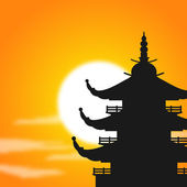 Asian Pagoda Silhouette at Dusk — Stock Vector