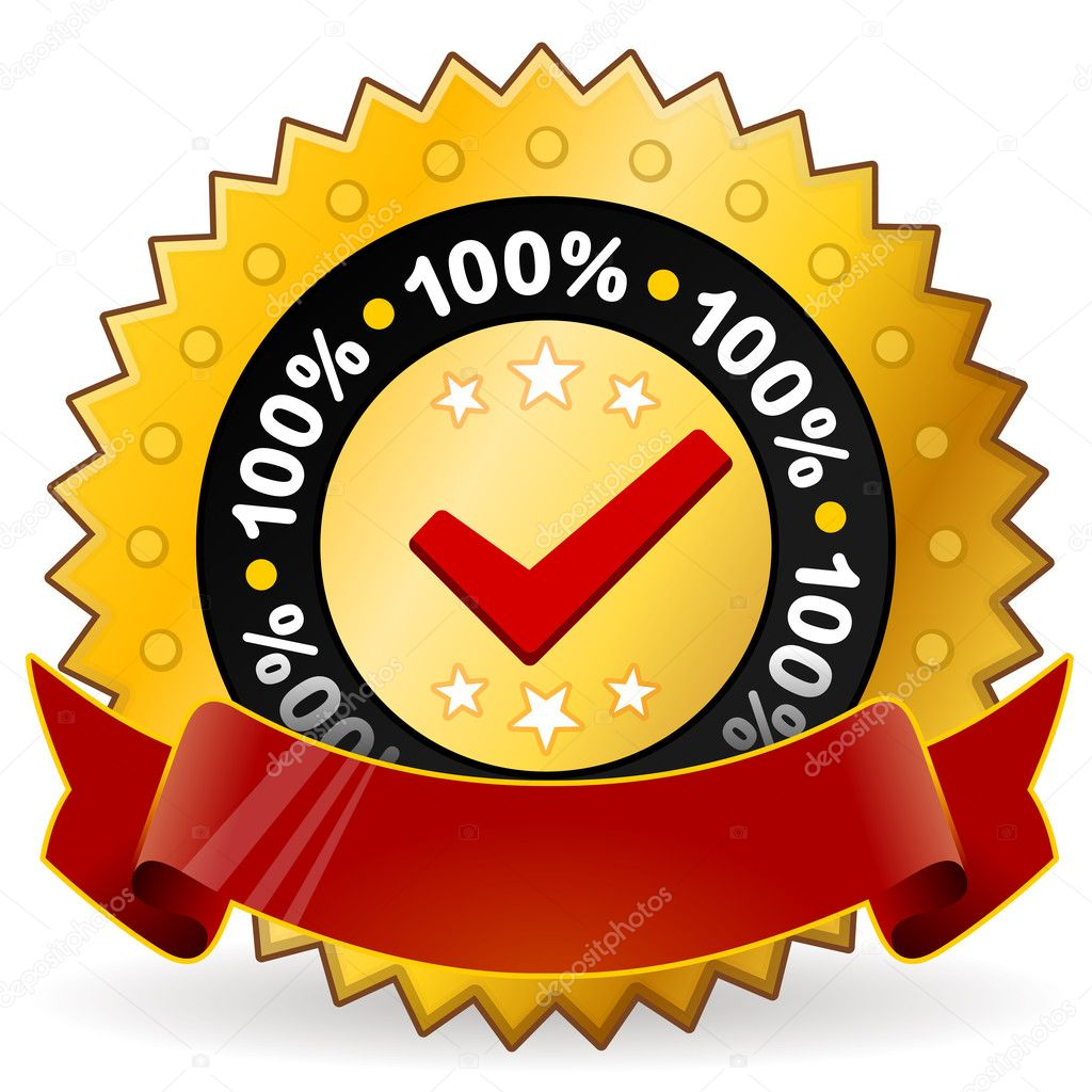 Vector illustration of guaranteed satisfaction and quality warranty in gold and red colors  Stock Vector #7665228