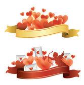 Ribbon with hearts. — Stock Vector