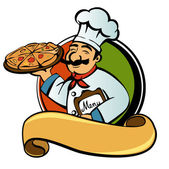Cook with pizza — Stockvektor