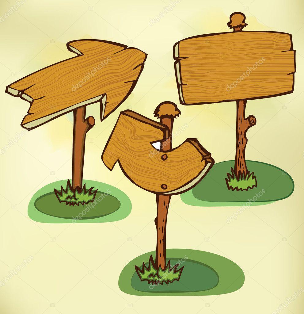 Cartoon Wood Board ~ Cartoon wooden boards — stock vector timea
