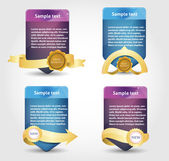 Web banner with gold ribbons — Stock Vector