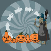 Old witch, ghosts and five pumpkin heads — Stock Vector