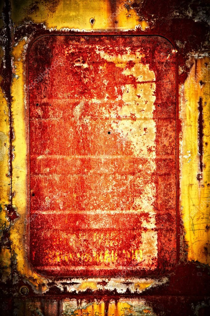 The rusty window shut by an old plate of yellow-red color — Stock Photo #7481579