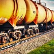 Train with fuel petrol tanks on the railway - Foto Stock