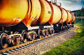 Train with fuel petrol tanks on the railway — Stok fotoğraf