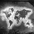 The world map, black-and-white tones — Stock Photo