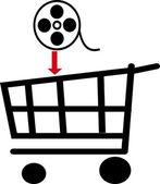 在购物篮中的电影 — 图库照片