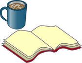 Livre et tasse de café — Stockfoto