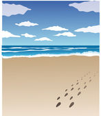 Footprints on thé beach — Photo