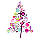 Abstract christmas tree with cute and colorful design elements — Stock Vector