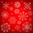 Red christmas background, vector illustration - Stock Photo
