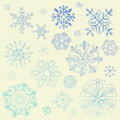Doodle Snowflake Elements - Stock Photo