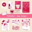 Set of valentines day stamps — Stok fotoğraf