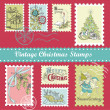 Vintage Christmas postage set — Stockfoto
