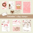 Set of valentines day stamps - Stok fotoğraf