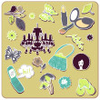 Collection of cute stickers for your design - Stock Photo