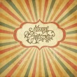Vintage Christmas template, colored sun burst background. — Stock Photo