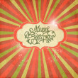 Vintage Christmas template, colored sun burst background. - Stockfoto