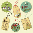 Vintage Christmas tags - Stock Photo