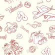 Conceptual travel seamless pattern - Stock Photo