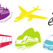 Travel transportation icon set. Vector. Vehicles icons - Stock Photo
