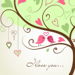 Stylized love tree made with two birds in love - Stockfoto