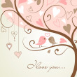 Stylized love tree made with two birds in love — Stok fotoğraf