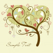 Stylized love tree made with two birds in love - Zdjęcie stockowe