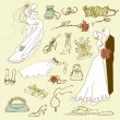 Wedding set of cute glamorous doodles — Stock Photo