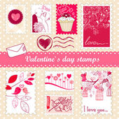 Set of valentines day stamps — ストック写真