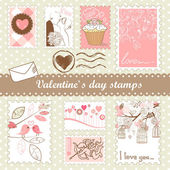 Set of valentines day stamps — 图库照片