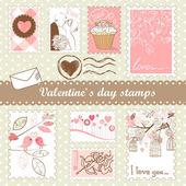 Set van de dag van valentijnskaarten postzegels — Stockfoto