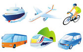 Travel transportation icon set. Vector. Vehicles icons — Stock Photo