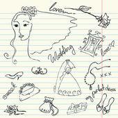 Conjunto de lindo glamour de la boda doodles — Foto de Stock