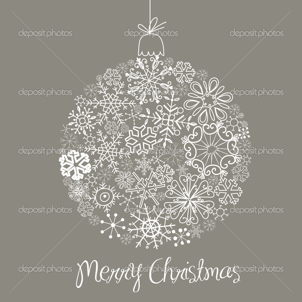 Grey and White Christmas ball illustration. — Stock Photo #7549505