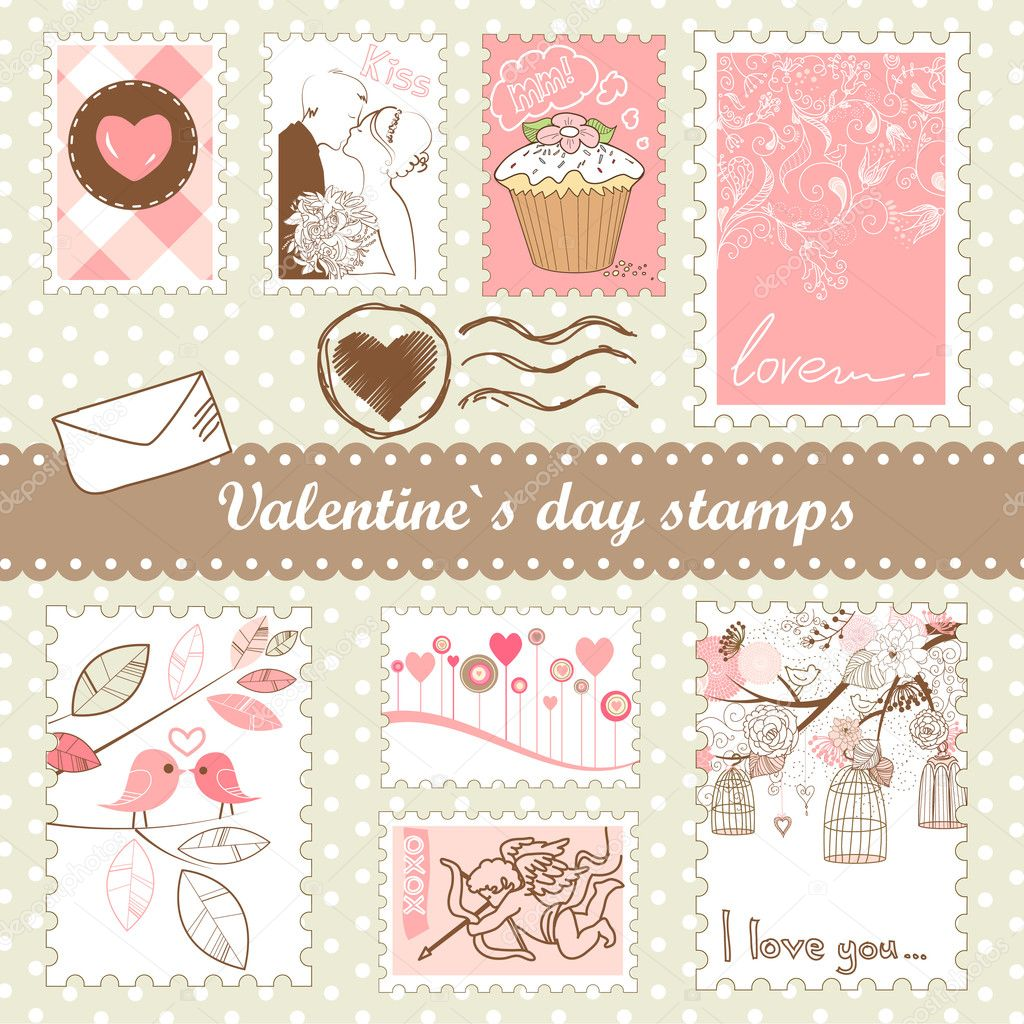 Set of valentines day stamps — Stock Photo #7549632