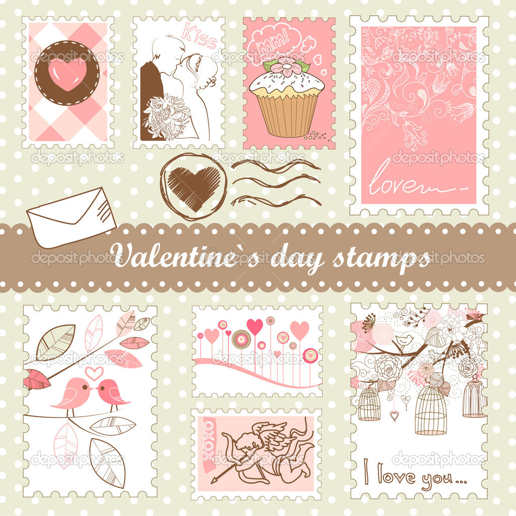 Set of valentines day stamps — Lizenzfreies Foto #7549632