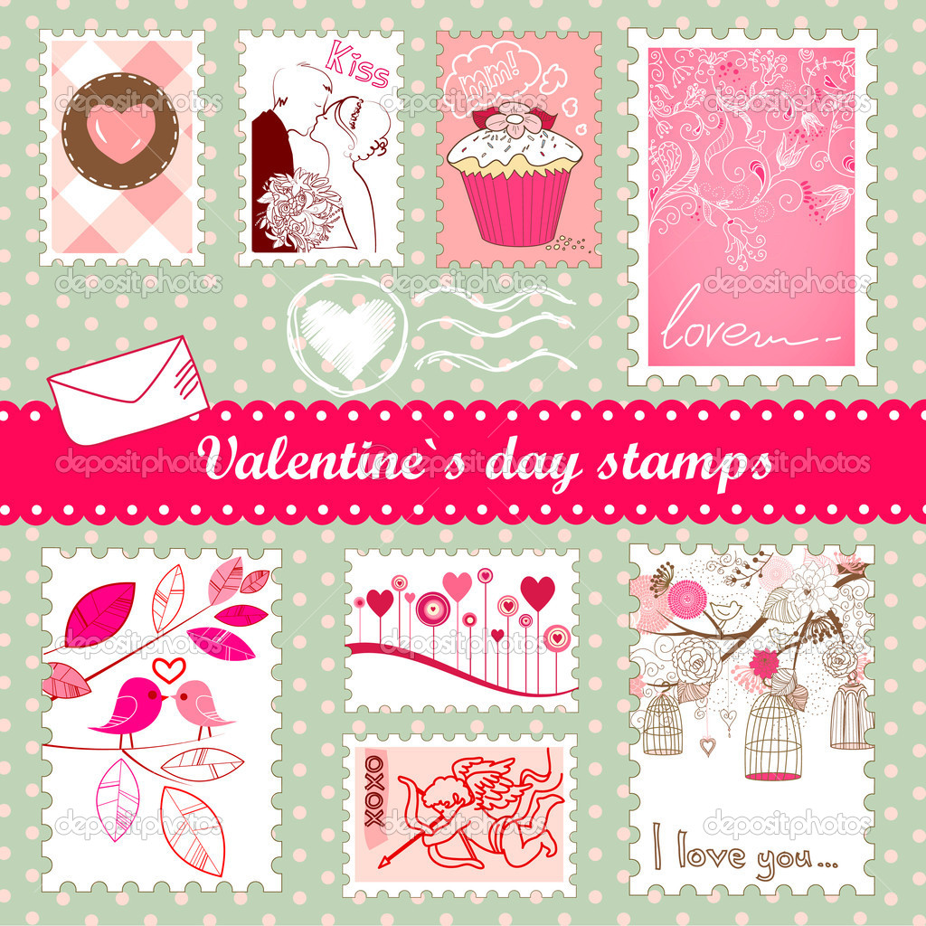 Set of valentines day stamps  Lizenzfreies Foto #7549658