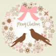 Stock Photo: Vintage Christmas wreath and two birds