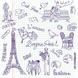 Paris doodles. French cuisine. — Stock Photo