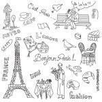 Paris doodles. French cuisine. — Stock Photo