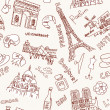 Stock Photo: Sightseeing in Paris doodles. Seamless Background