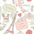 Love in Paris. Seamless pattern — Stock Photo