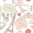 Love in Paris. Seamless pattern - Stock Photo